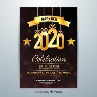 Feliz año nuevo 2020 flyer noche de celebración