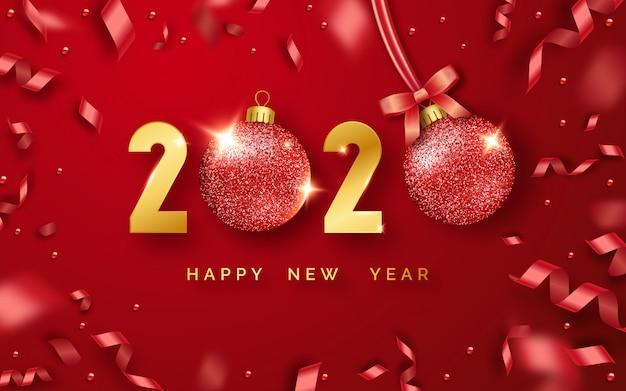 Feliz año nuevo 2020 fondo con brillantes números, bolas y cintas