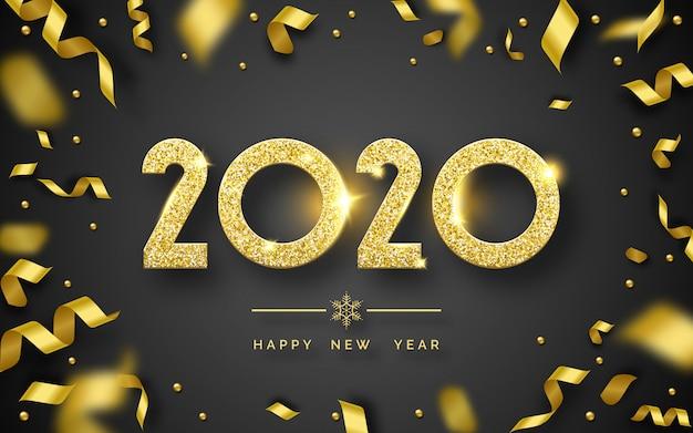 Feliz año nuevo 2020 fondo con brillantes números y cintas