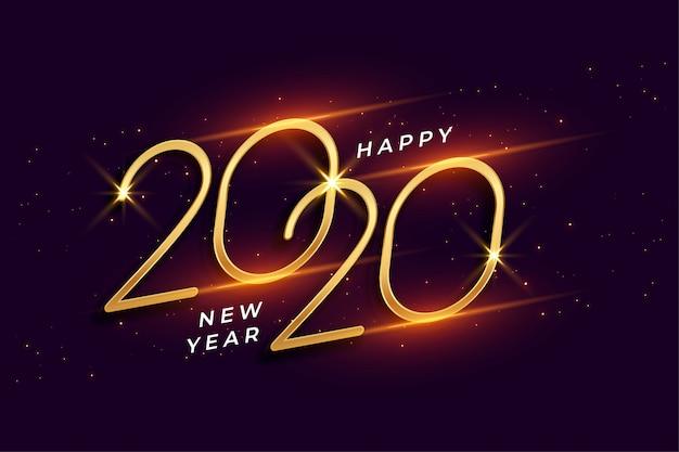 Feliz año nuevo 2020 fondo dorado brillante celebración