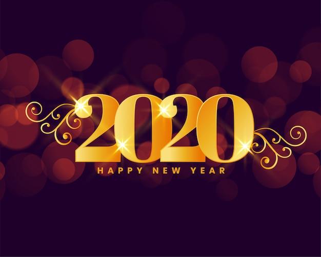 Feliz año nuevo 2020 fondo dorado saludo real