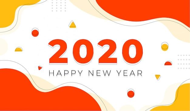 Feliz año nuevo 2020 con fondo geométrico