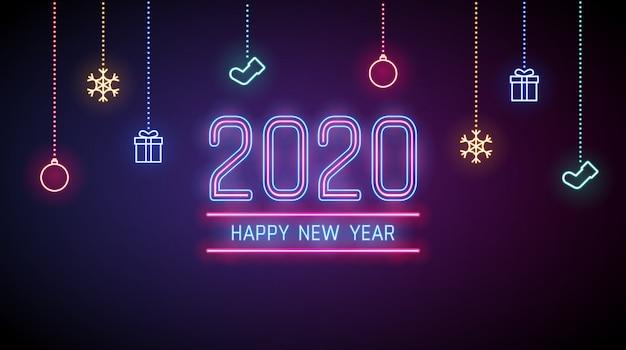 Feliz año nuevo 2020 fondo en luces de neón con adornos