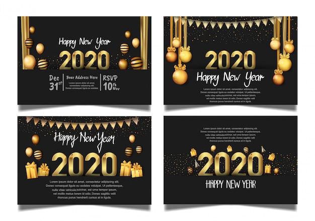 Feliz año nuevo 2020 fondo negro con bola colgante, caja de regalo, globo y purpurina