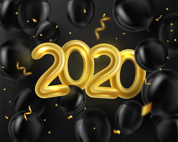 Feliz año nuevo 2020. fondo realista globos dorados y negros y serpentina