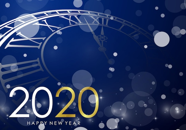 Feliz año nuevo 2020 fondo con reloj
