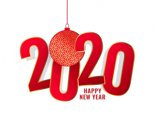Feliz año nuevo 2020 fondo de texto rojo