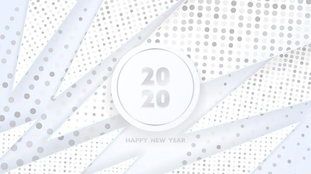 Feliz año nuevo 2020 de formas geométricas de triángulos plateados y patrón de brillos brillantes