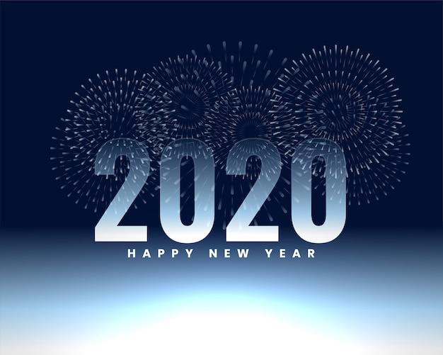 Feliz año nuevo 2020 fuegos artificiales banner fondo