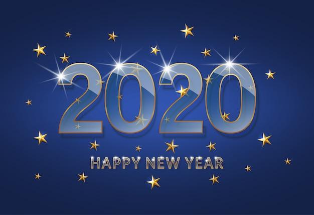 Feliz año nuevo 2020. fuente de cristal transparente con un contorno dorado sobre un fondo azul oscuro.