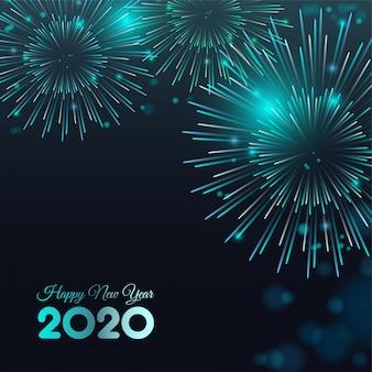 Feliz año nuevo 2020 fundamento de fuegos artificiales