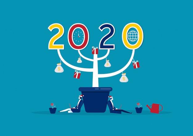 Feliz año nuevo 2020 gran árbol