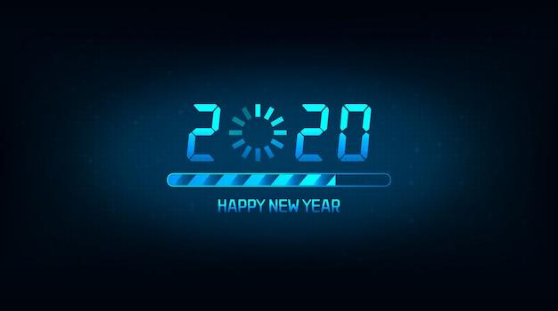 Feliz año nuevo 2020 con icono de carga y barra sobre fondo de color azul