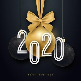 Feliz año nuevo 2020 ilustración.