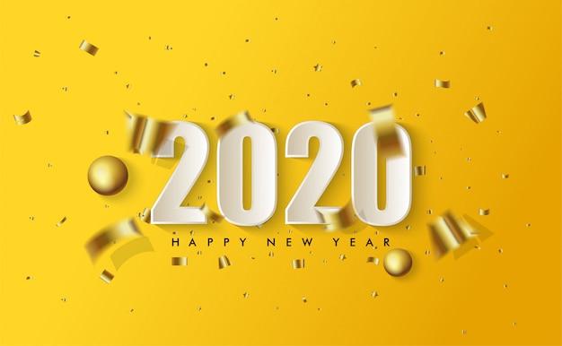 Feliz año nuevo 2020 con ilustraciones de figuras 3d en blanco y trozos de papel dorado esparcidos en amarillo