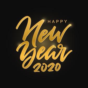 Feliz año nuevo 2020 inscripción manuscrita dorada