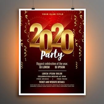 Feliz año nuevo 2020 invitación folleto o plantilla de póster