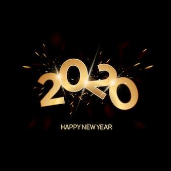 Feliz año nuevo 2020 letras doradas