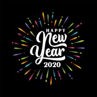 Feliz año nuevo 2020 letras con estallido multicolor fuegos artificiales