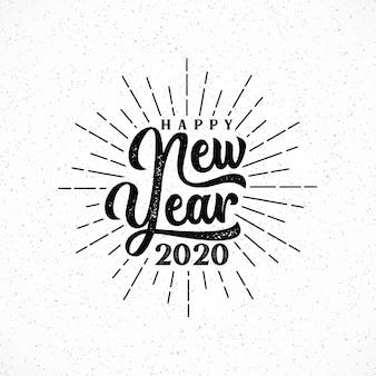 Feliz año nuevo 2020 letras con ilustración de ráfaga.