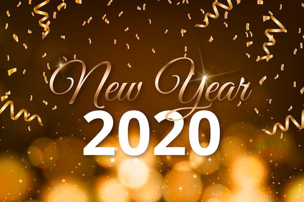 Feliz año nuevo 2020 letras con papel tapiz de decoración realista