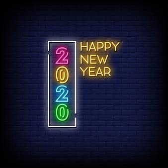 Feliz año nuevo 2020 letreros de neón estilo texto