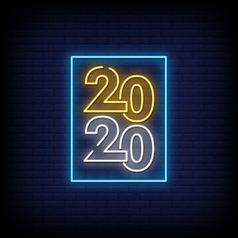 Feliz año nuevo 2020 letreros de neón estilo vector texto