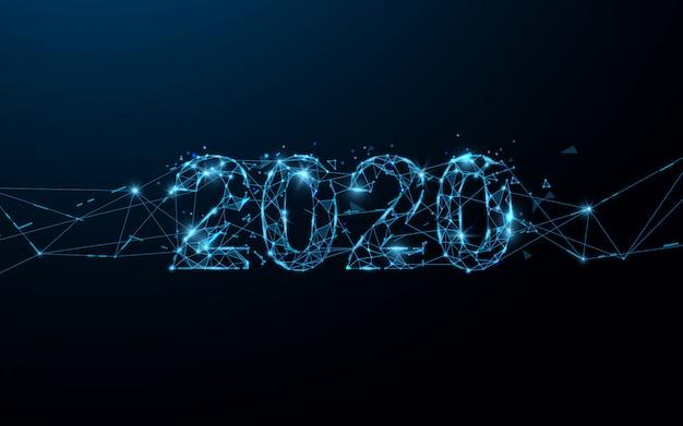 Feliz año nuevo 2020 líneas de forma de banner, triángulos y estilo de partículas. ilustración