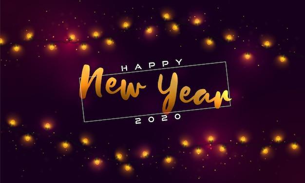 Feliz año nuevo 2020. luces de navidad, bombillas, guirnaldas.