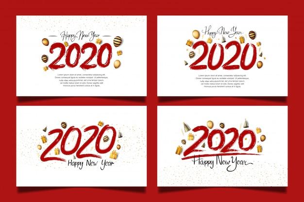 Feliz año nuevo 2020 con número de color rojo