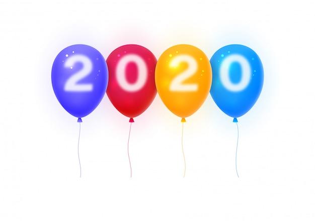 Feliz año nuevo 2020. números 2020 en globos de colores.