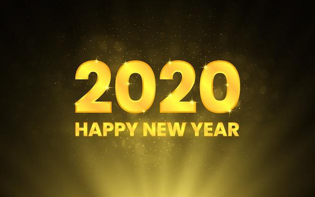 Feliz año nuevo 2020. números dorados sobre negro