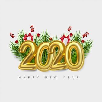 Feliz año nuevo 2020. números metálicos 2020. signo realista 3d. cartel festivo o diseño de pancarta