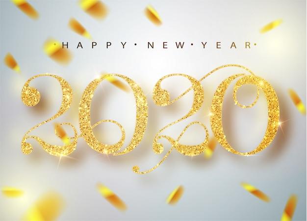 Feliz año nuevo 2020. números metálicos dorados de vacaciones 2020. signo realista. cartel festivo o pancarta