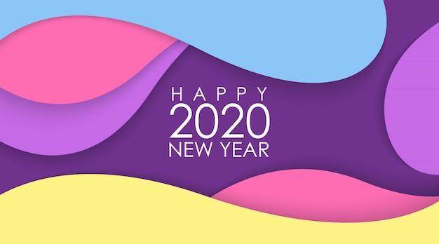 Feliz año nuevo 2020 con papercut colorido