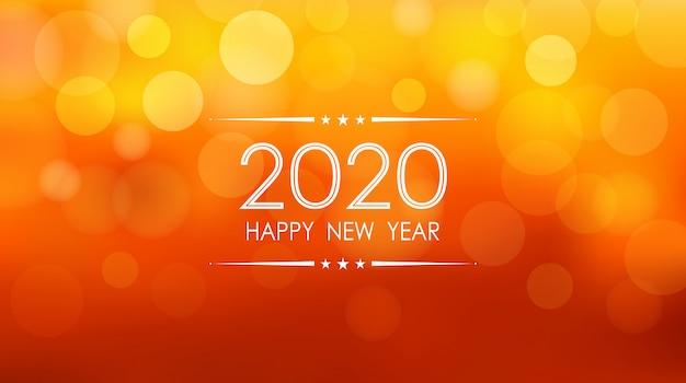 Feliz año nuevo 2020 con patrón de destellos bokeh y lente sobre fondo de color naranja de verano