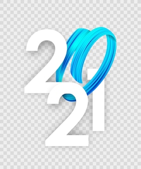 Feliz año nuevo 2020 con pintura de pincelada de color azul abstracto