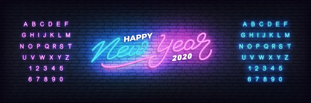 Feliz año nuevo 2020 plantilla de banner de neón