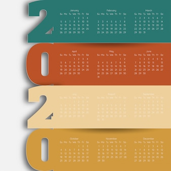 Feliz año nuevo 2020 plantilla de calendario moderno. vector / ilustración.
