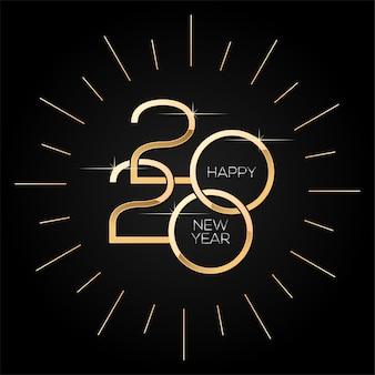 Feliz año nuevo 2020, plantilla cuadrada minimalista con texto dorado en negro