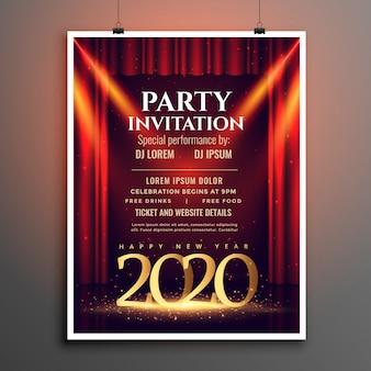 Feliz año nuevo 2020 plantilla de invitación de fiesta