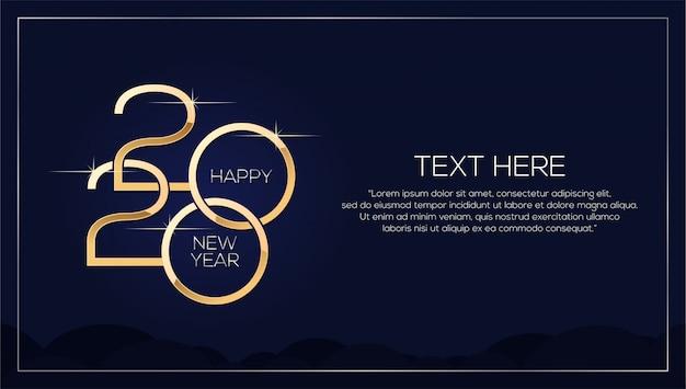Feliz año nuevo 2020, plantilla minimalista con texto dorado