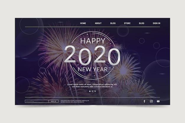Feliz año nuevo 2020 plantilla de página de destino