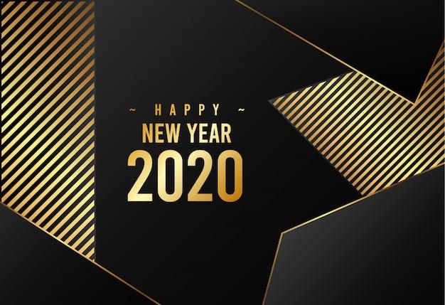 Feliz año nuevo 2020 plantilla de tema de lujo