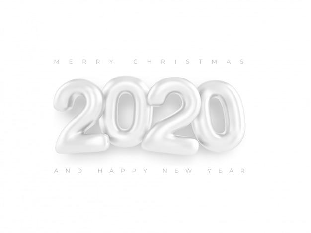 Feliz año nuevo 2020 plantillas números blancos