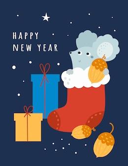 Feliz año nuevo 2020 rata, ratón, ratones