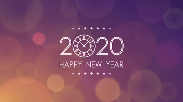 Feliz año nuevo 2020 con reloj y patrón de destello de lente abstracto en fondo de color vintage