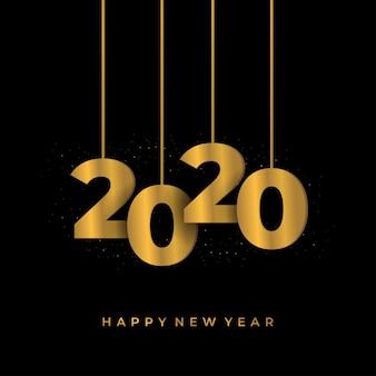 Feliz año nuevo 2020 saludo fondo con números de oro