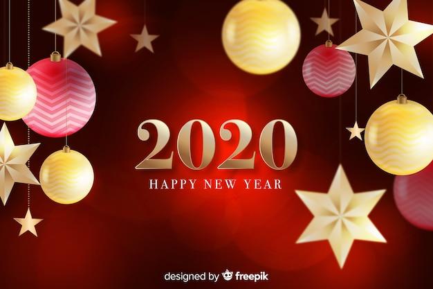 Feliz año nuevo 2020 sobre fondo rojo con globos y estrellas