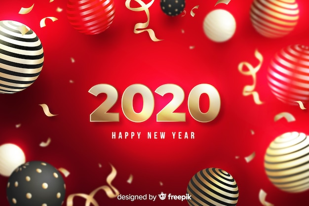 Feliz año nuevo 2020 sobre fondo rojo con globos